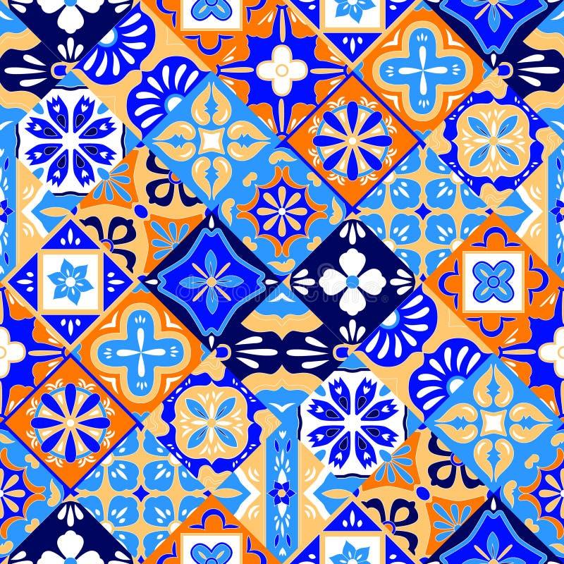 Mexikanisches stilisiertes Talavera deckt nahtloses Muster in blauem Orange und weiß, Vektor mit Ziegeln vektor abbildung