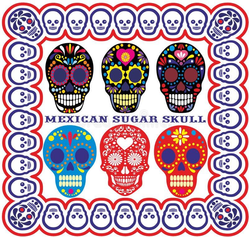 Mexikanisches Zuckerschädelset lizenzfreie abbildung