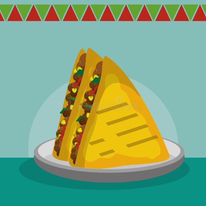 mexikansk matdesign stock illustrationer