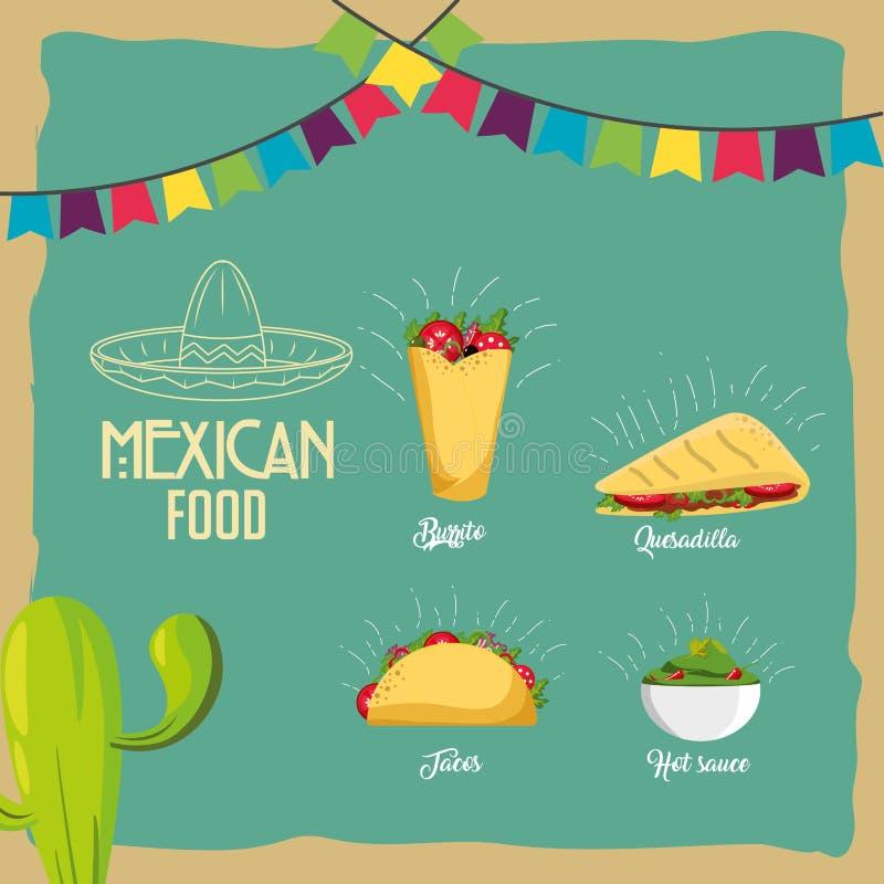 mexikansk matdesign vektor illustrationer