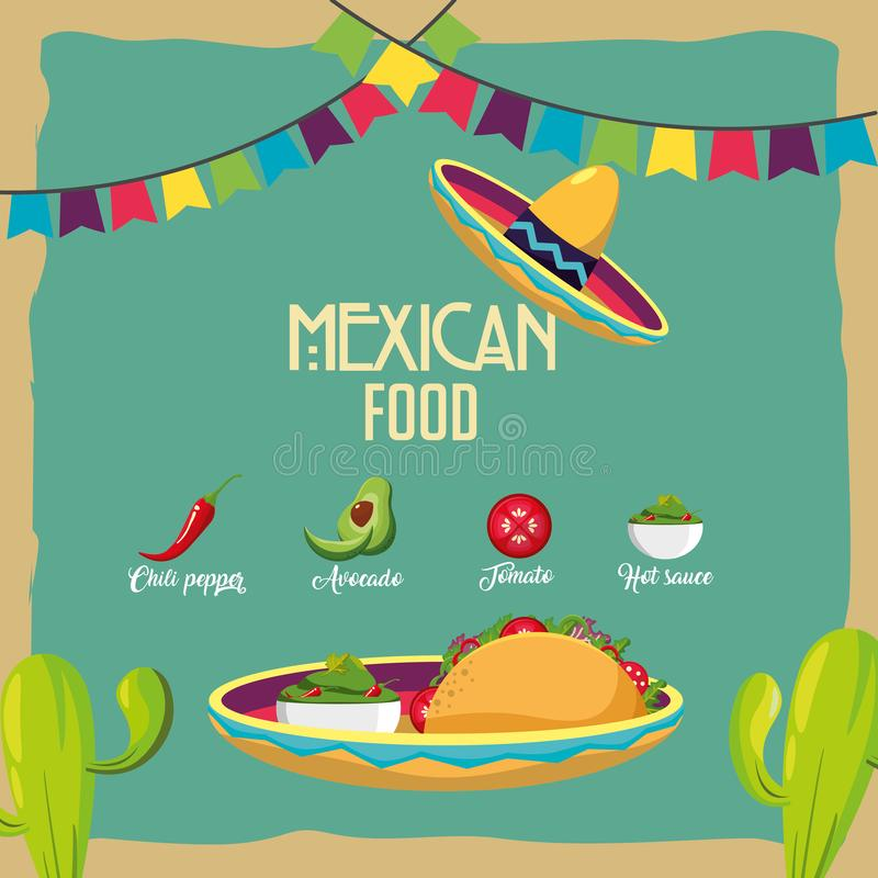 mexikansk matdesign royaltyfri illustrationer
