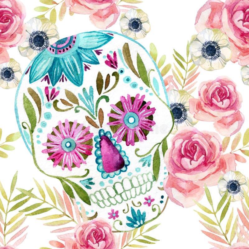 Mexikansk sockerskalle för vattenfärg bland den sömlösa modellen för blommor royaltyfri illustrationer