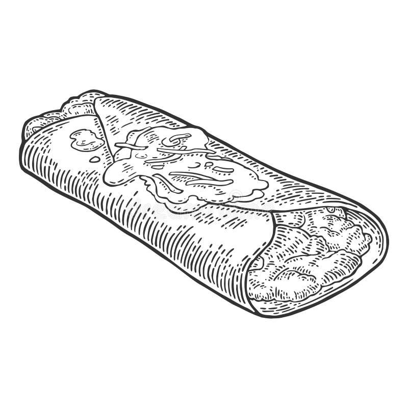 Mexikansk traditionell mat för enchilada Inristad illustration för vektor svart tappning vektor illustrationer