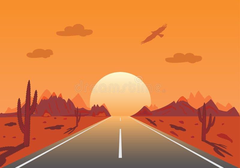 mexikansk vägsolnedgång för öken stock illustrationer