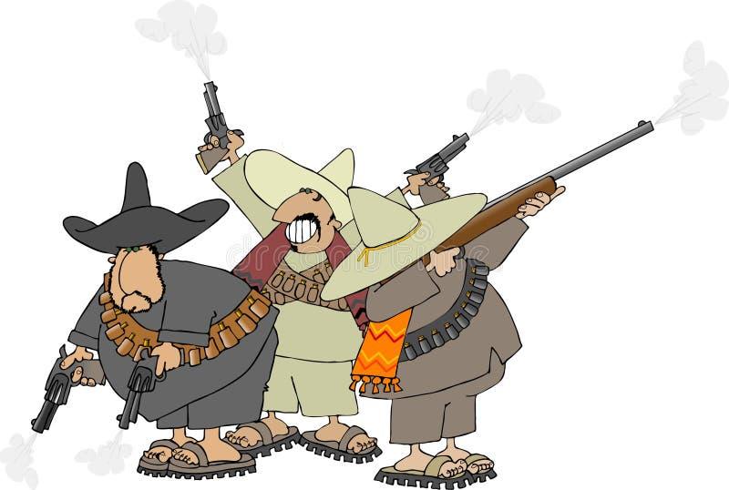 mexikanska banditos royaltyfri illustrationer