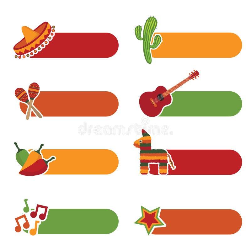 mexikanska flikar vektor illustrationer