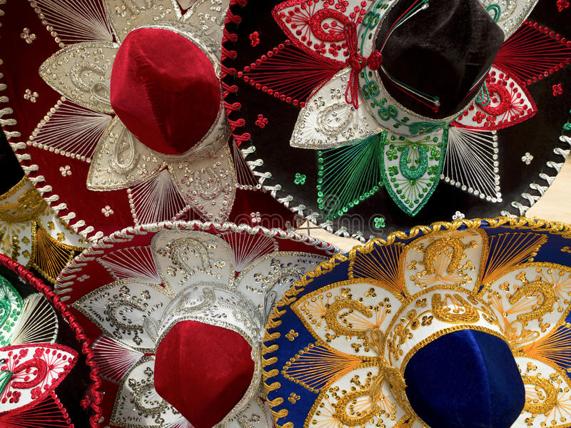 mexikanska sombreros royaltyfri fotografi