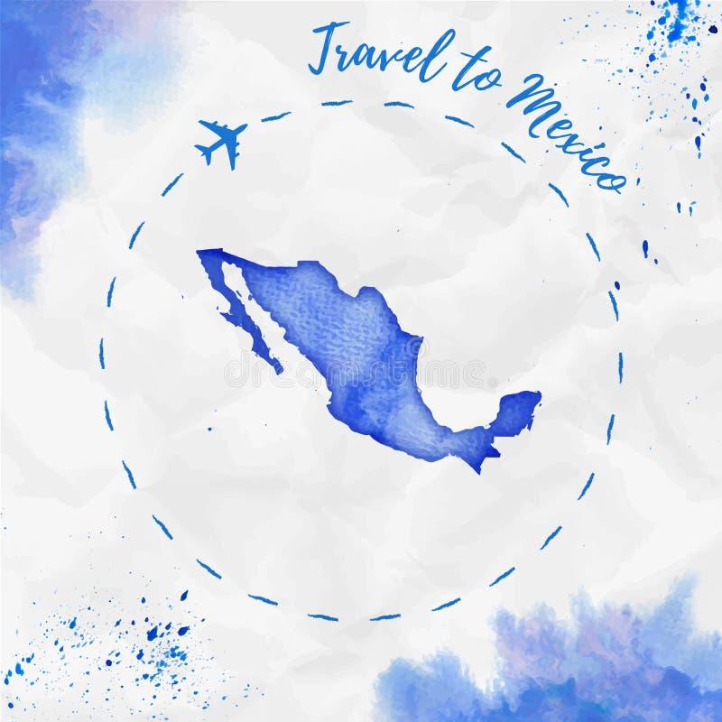 Mexiko-Aquarellkarte in den blauen Farben stock abbildung