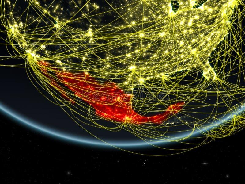 Mexiko auf dunkler Erde mit Netz lizenzfreie abbildung
