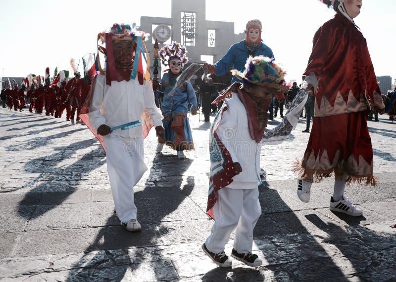 Mexiko City, Mexiko 11. Dezember 2017: Pilger bei Guadalupe Pilgrimage stockbilder