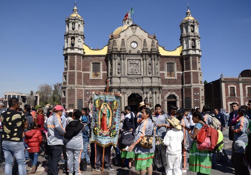 Mexiko City, Mexiko 10. Dezember 2017: Pilger bei Guadalupe Pilgrimage lizenzfreies stockfoto