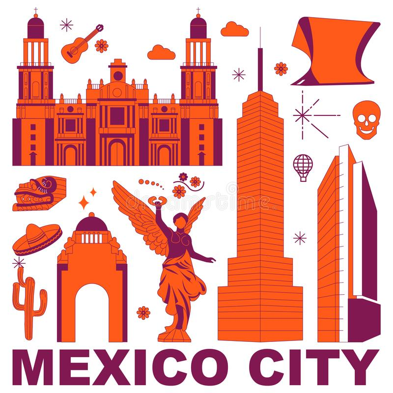 Mexiko- Citykulturreise-Vektorsatz stock abbildung