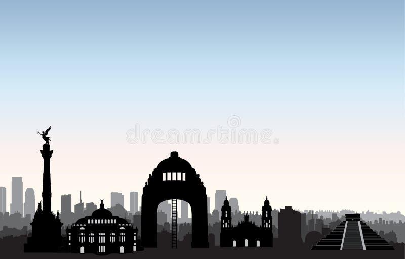 Mexiko- CitySkyline Stadtbildmarksteinschattenbild Reisehintergrund lizenzfreie abbildung