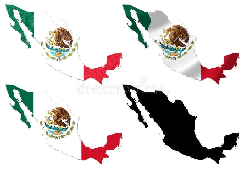 Mexiko-Flagge über Kartencollage vektor abbildung