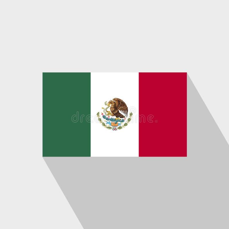 Mexiko-Flagge langer Schatten-Entwurfsvektor lizenzfreie abbildung