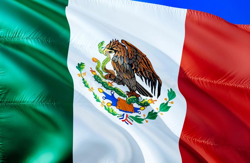Mexiko-Flagge wellenartig bewegendes Design der Flagge 3D Das nationale Sonderzeichen von Mexiko, Wiedergabe 3D Nationale Farben  stockfoto