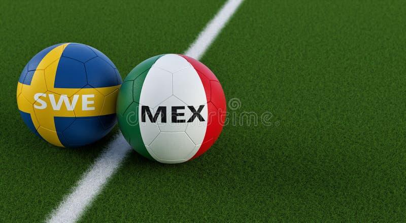 Mexiko gegen Schweden-Fußballspiel - Fußbälle in nationalen Farben Mexicos und Swedens auf einem Fußballplatz vektor abbildung