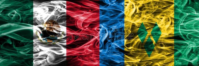 Mexiko gegen St. Vincent und die Grenadinen Rauchflaggen setzte Si vektor abbildung