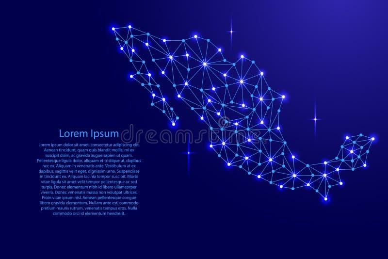 Mexiko-Karte des polygonalen Mosaiks zeichnet Netz, Strahlen, Raumsterne der Vektorillustration lizenzfreie abbildung