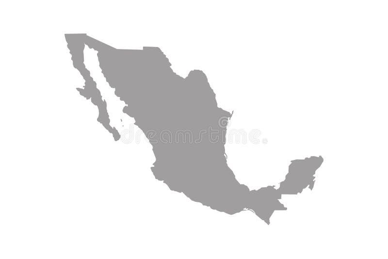 Mexiko-Karte Hohe ausführliche Karte von Mexiko auf weißem Hintergrund lizenzfreie abbildung