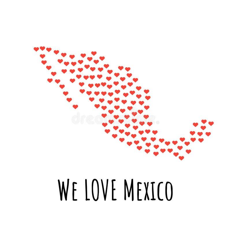 Mexiko-Karte mit roten Herzen - Symbol der Liebe entziehen Sie Hintergrund vektor abbildung