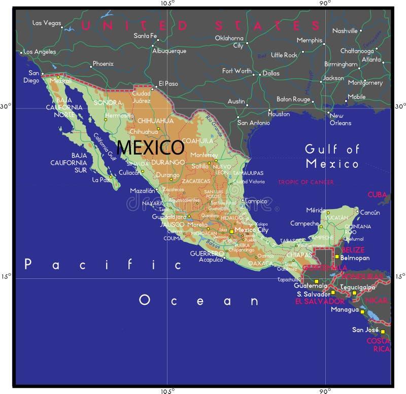 Mexiko-Karte Vektor lizenzfreie abbildung