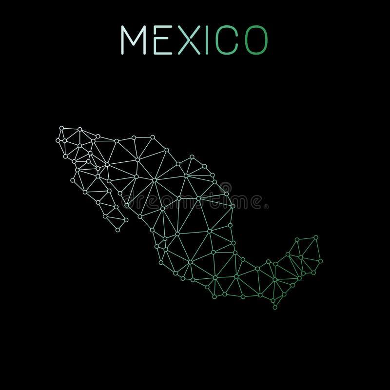 Mexiko-Netzkarte stock abbildung