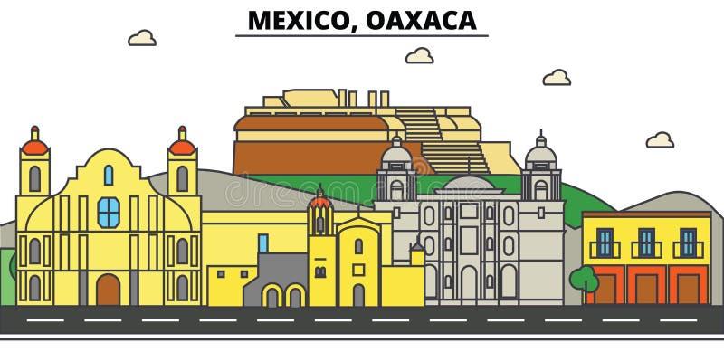 Mexiko, Oaxaca Stadtskyline, Architektur, Gebäude, Straßen, Schattenbild, Landschaft, Panorama, Marksteine, Ikonen stock abbildung