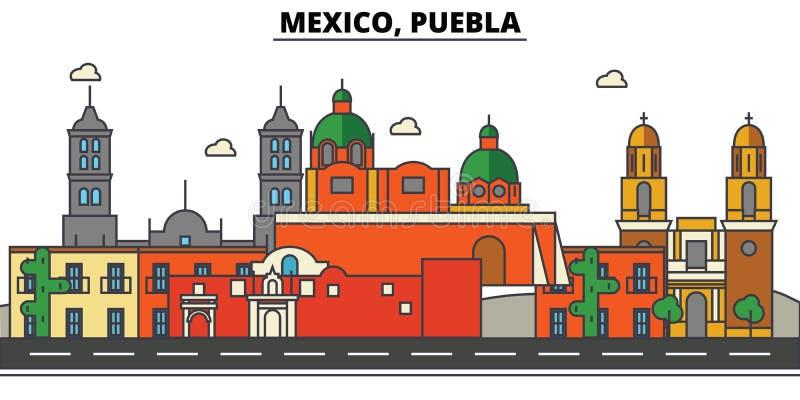 Mexiko, Puebla Stadtskyline, Architektur, Gebäude, Straßen, Schattenbild, Landschaft, Panorama, Marksteine, Ikonen stock abbildung