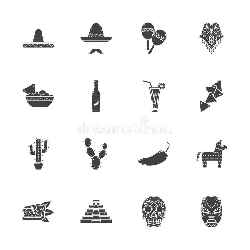 Mexiko symbolsuppsättning vektor illustrationer
