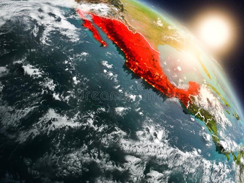 Mexiko vom Raum während des Sonnenaufgangs stock abbildung