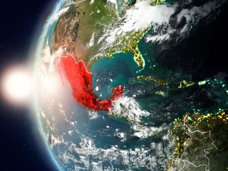 Mexiko während des Sonnenuntergangs auf Erde vektor abbildung