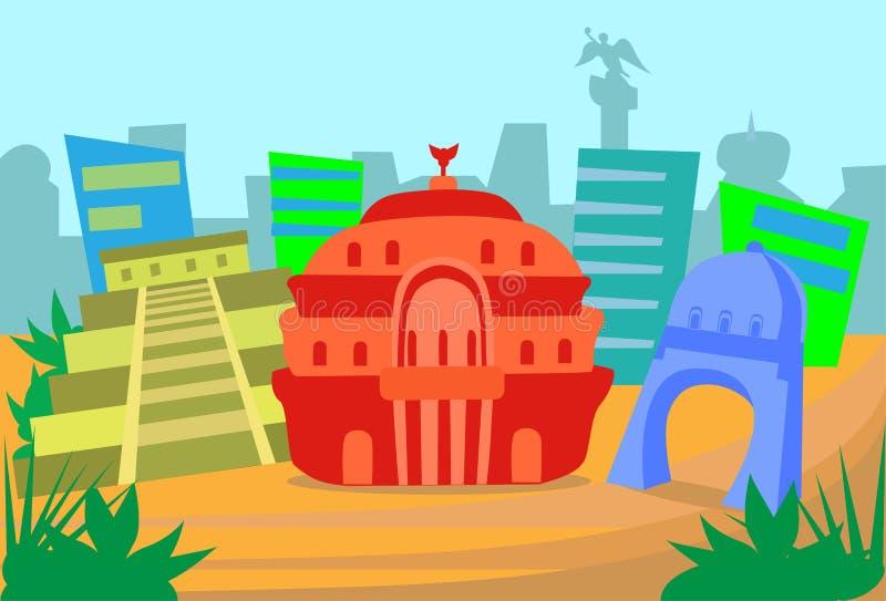 Mexiko-Zusammenfassungs-Skyline-Stadt-Wolkenkratzer-Schattenbild vektor abbildung