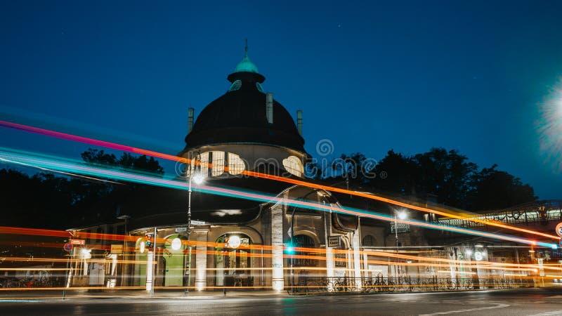 Am Mexikoplatz Zehlendorf, Berlin at night stock images