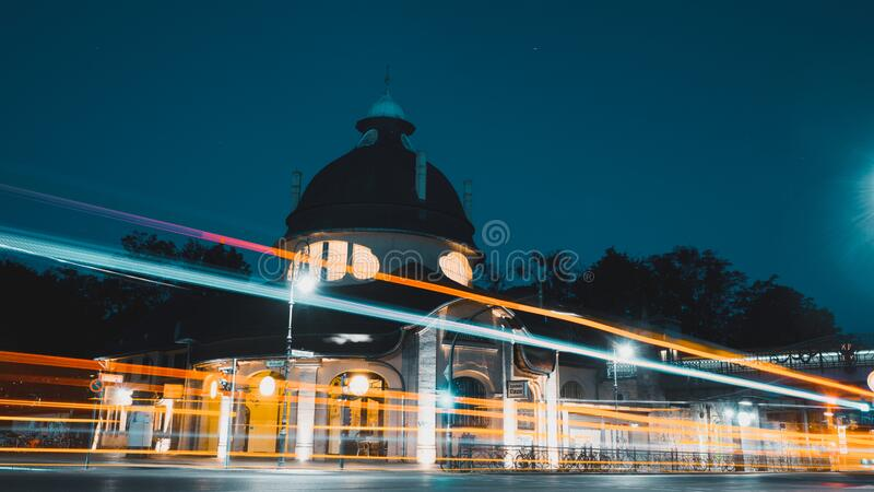 Am Mexikoplatz Zehlendorf, Berlin at night royalty free stock photo