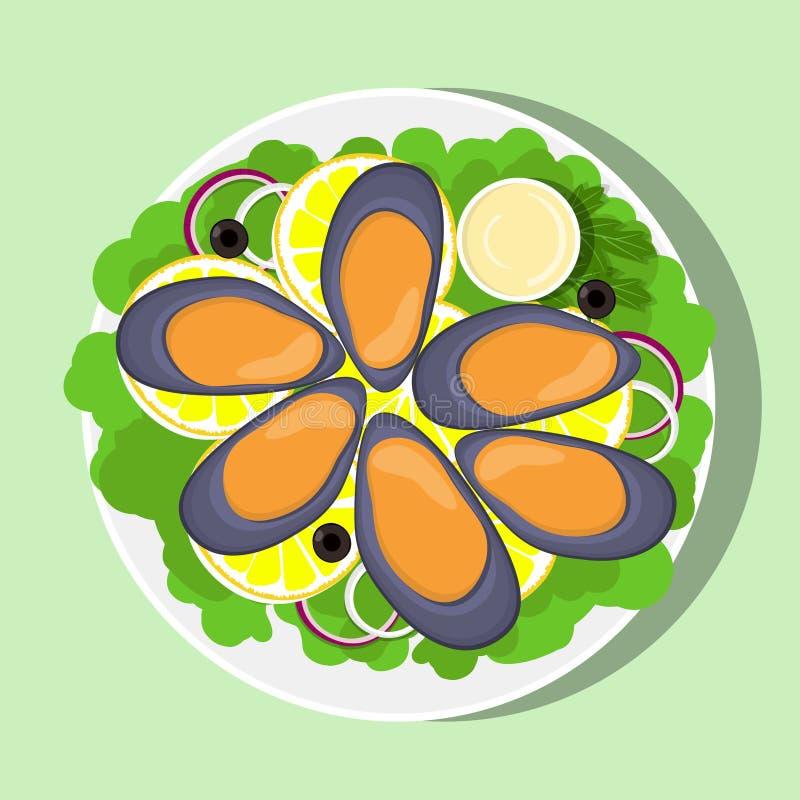 Mexilhões, fatias do limão, folhas da alface, cebola e molho na placa branca, vista superior Marisco fresco Ilustração lisa do ve ilustração stock