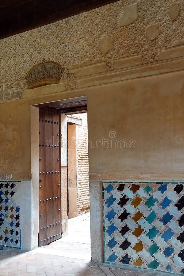Nasrid palace Mexuar entrance at the Alhambra in Granada, Andalusia. The Mexuar was the public reception hall of the Alhambra, where the Sultan and his visirs royalty free stock image