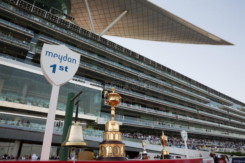 Meydan Racecourse. Dubai World Cup displayed at Meydan Racecourse in Meydan City, Dubai, United Arab Emirates on Dubai World Cup Day. It is able to accommodate stock photos