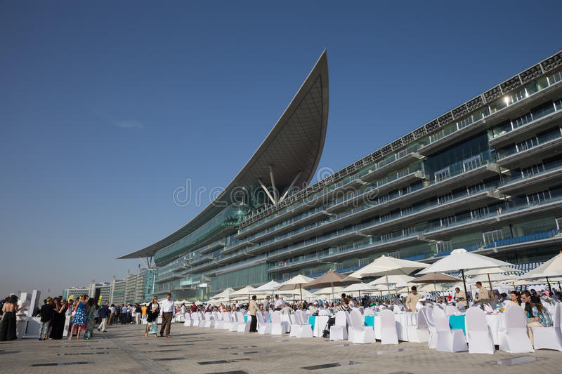 Meydan Racecourse. General view of Meydan Racecourse in Meydan City, Dubai, United Arab Emirates. It is able to accommodate over 60,000 spectators in a 1 mile stock photos