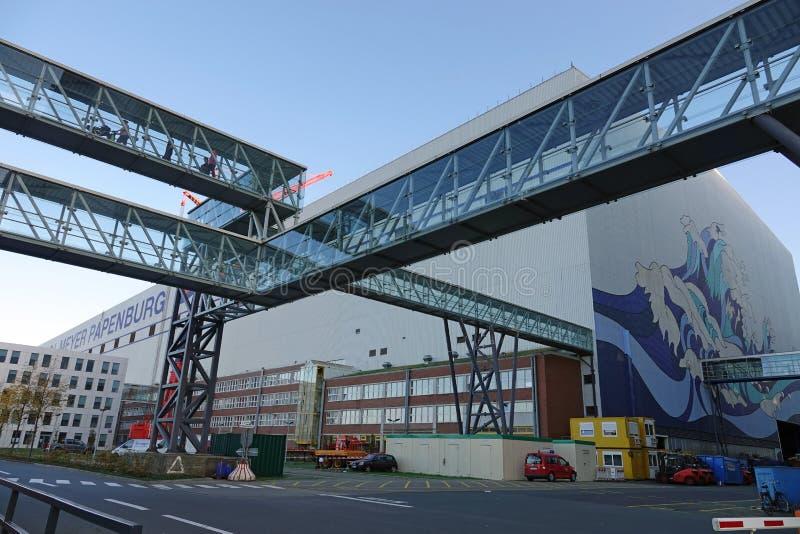 Meyer Werft skeppsvarv i Papenburg, Tyskland royaltyfri fotografi