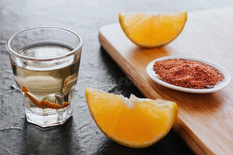 Mezcal射击了与辣椒盐和龙舌兰蠕虫,墨西哥饮料在墨西哥 免版税库存照片