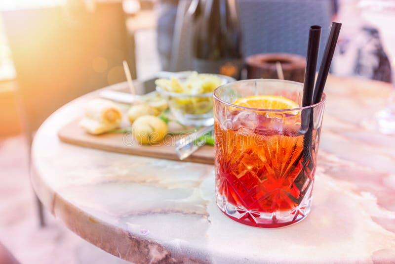 Mezcal Negroni cocktail royalty free stock photography