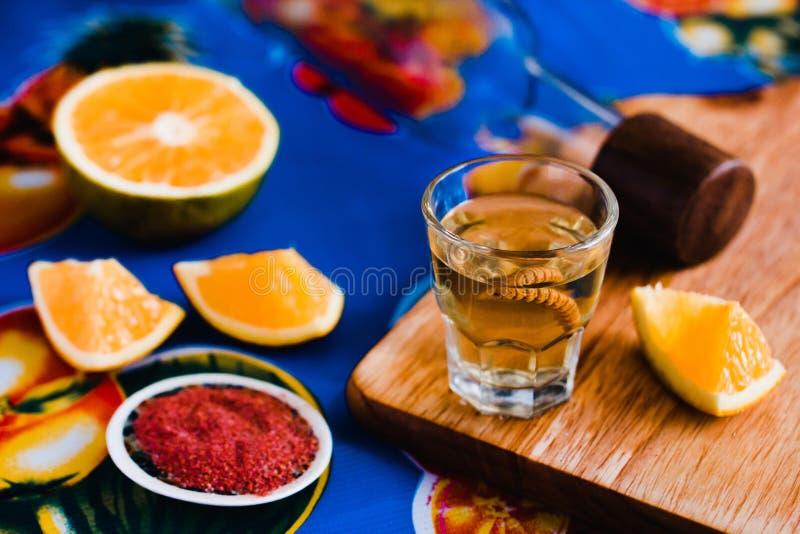 Mezcal tir? con la sal y el gusano del agavo, bebida mexicana del chile en M?xico foto de archivo