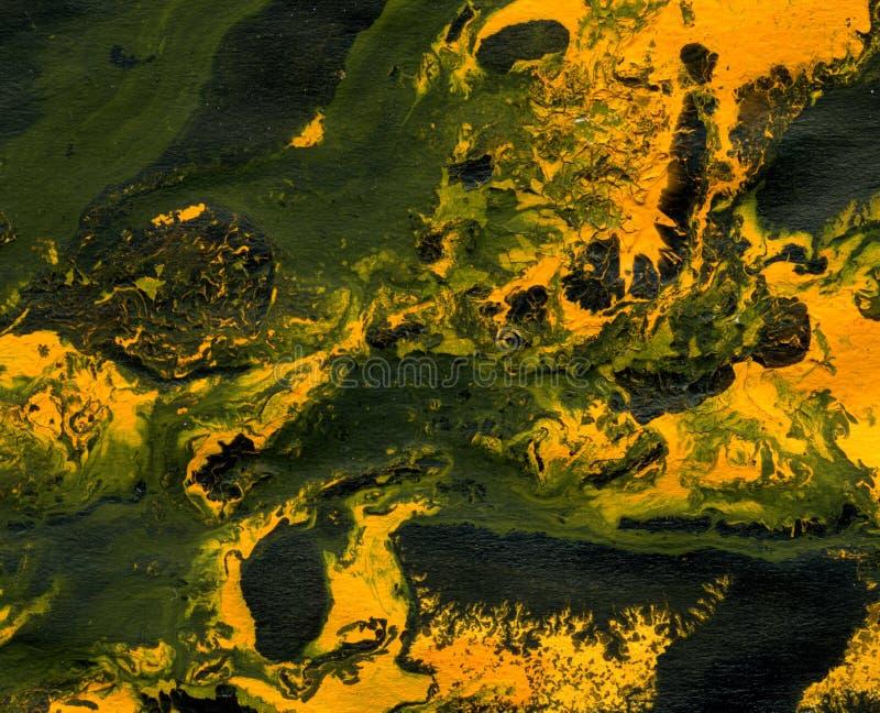 Mezcla anaranjada y negra de la pintura en el papel, fondo imagen de archivo