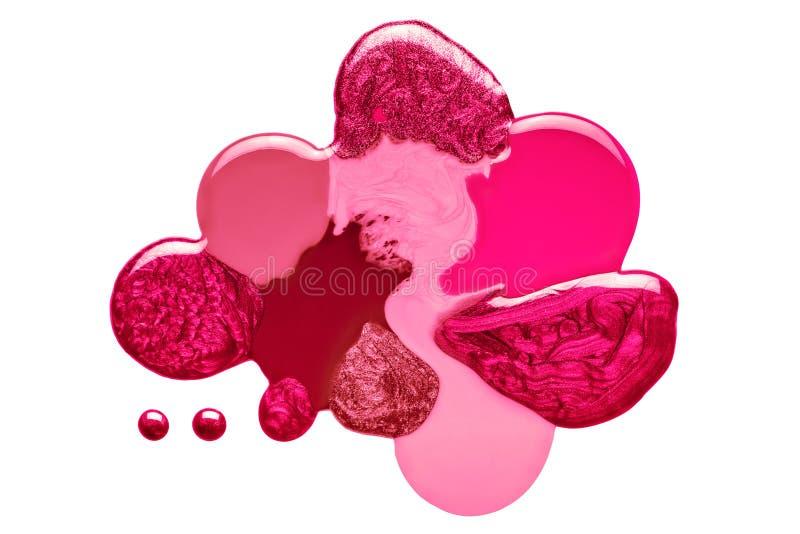 Mezcla artística del rosa rojo y del esmalte de uñas carmesí imagen de archivo