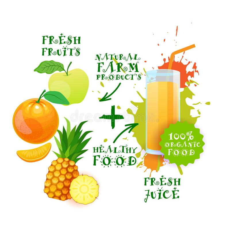 Mezcla de concepto de productos agrícolas fresco de Juice Cocktail Logo Natural Food stock de ilustración