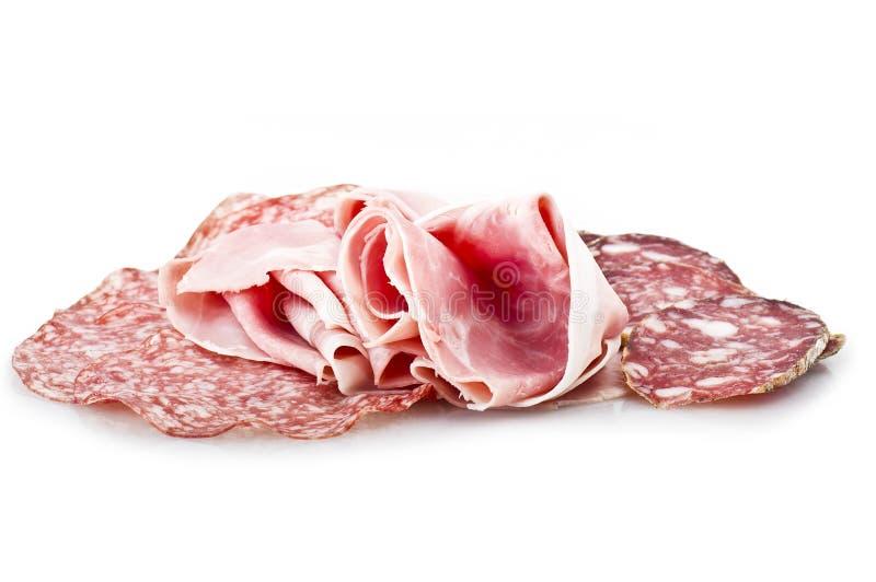 Mezcla de diverso salami italiano imagenes de archivo
