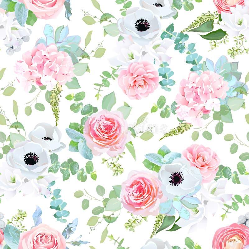 Mezcla de la boda de la fantasía de flores y de impresión inconsútil de las plantas libre illustration