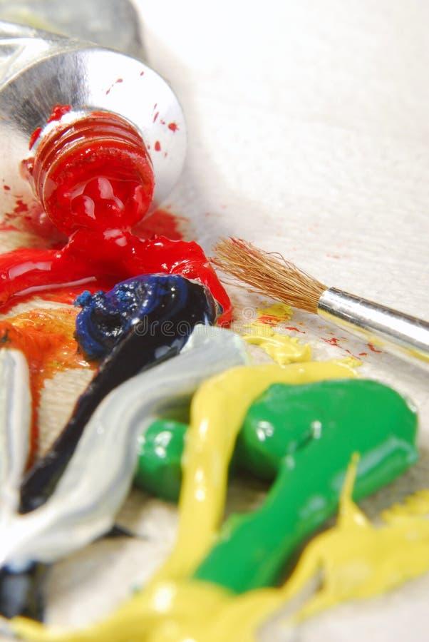 Mezcla de la pintura de aceite fotografía de archivo libre de regalías