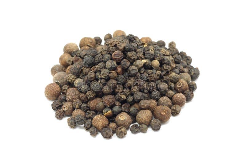 Mezcla de la semilla de negro y de pimienta inglesa fotos de archivo libres de regalías